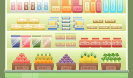 food products on a market shelf